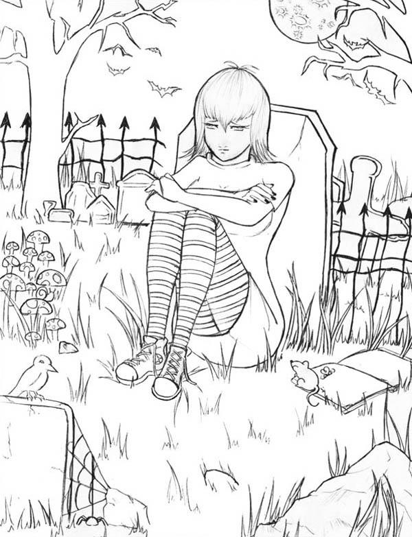 Hotel Transylvania, : Mavis Sitting on a Grave in Hotel Transylvania Coloring Pages
