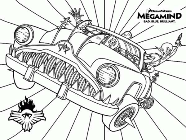 Megamind, : Megamind Awesome Car Coloring Pages