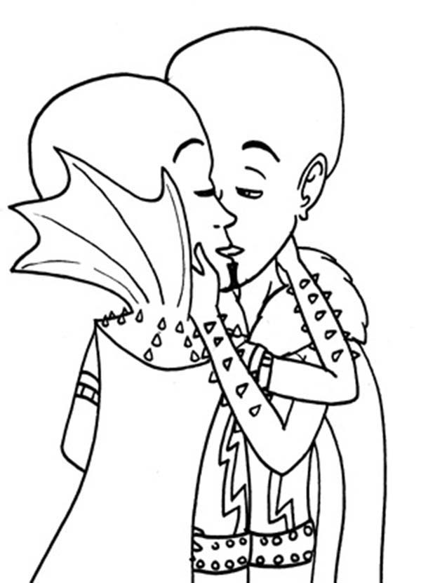 Megamind, : Megamind Kiss His Twin Coloring Pages