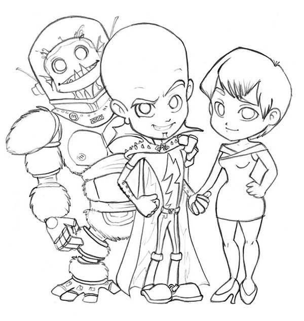 Megamind, : Megamind Main Characters Coloring Pages