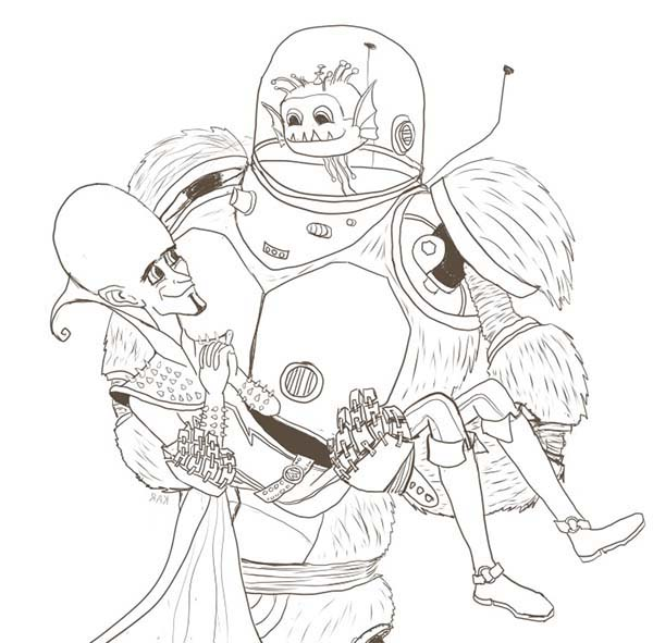 Megamind, : Megamind Saved by Minion Coloring Pages