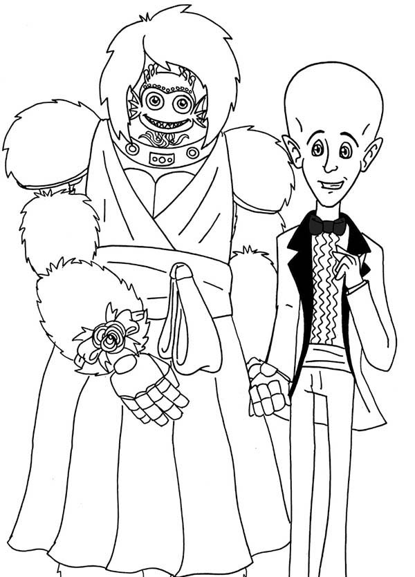 Megamind, : Megamind and Minion Dressing Like a Bride and Groom Coloring Pages
