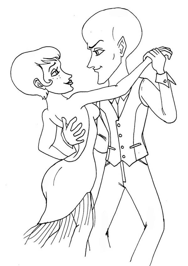 Megamind, : Megamind and Roxanne Doing a Little Tango Coloring Pages