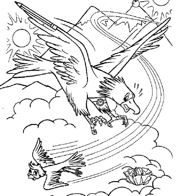Merlin the Wizard, : Merlin the Wizard Attack by an Eagle Coloring Pages