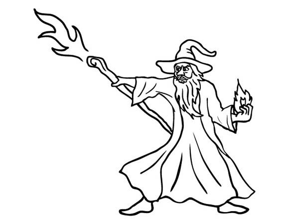 Merlin the Wizard, : Merlin the Wizard Attack with His Magic Stick Coloring Pages