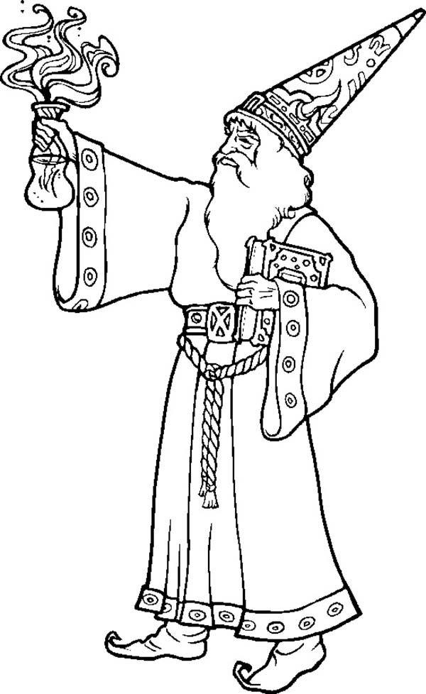Merlin the Wizard, : Merlin the Wizard Bring Magic Potion Coloring Pages