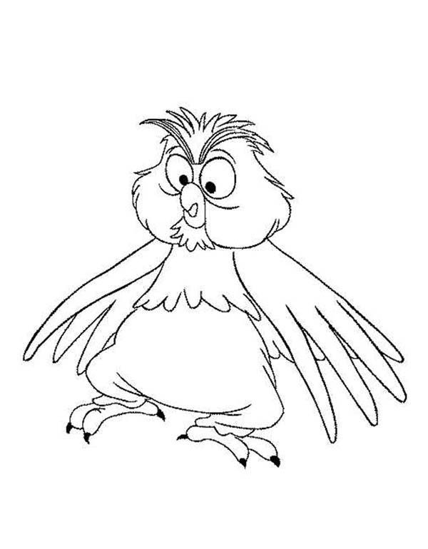 Merlin the Wizard, : Merlin the Wizard Change into Little Owl Coloring Pages