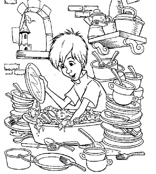 Merlin the Wizard, : Merlin the Wizard Coloring Pages Washing a Lot of Plates