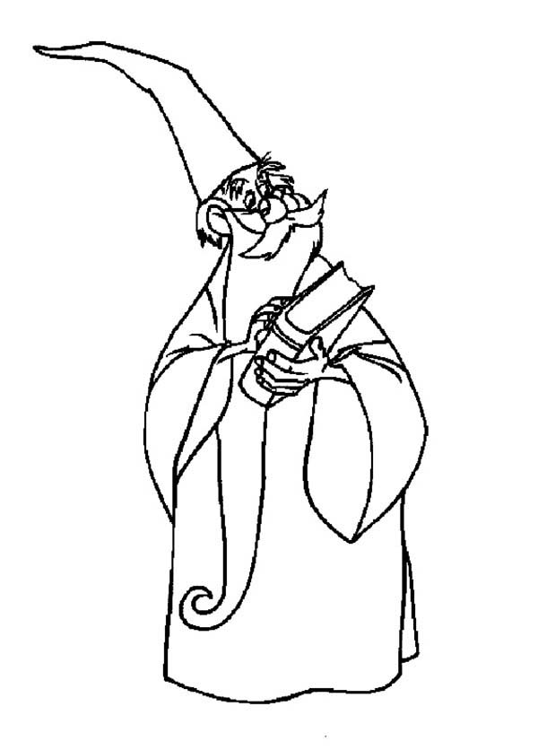 Merlin the Wizard, : Merlin the Wizard Holding Book of Magic Spell Coloring Pages