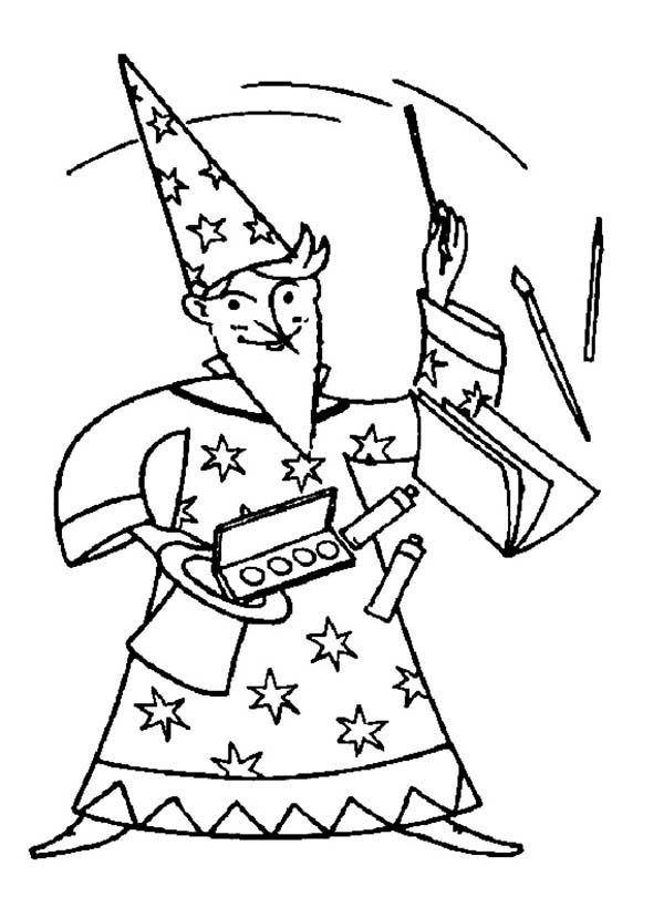 Merlin the Wizard, : Merlin the Wizard Magic Show Coloring Pages