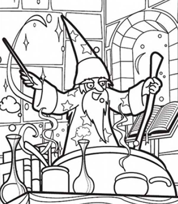 Merlin the Wizard, : Merlin the Wizard Making Magic Potion Coloring Pages