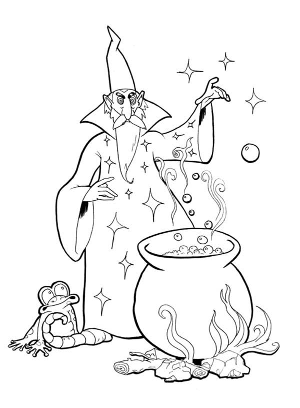 Merlin the Wizard, : Merlin the Wizard Mixing a Lot of Ingridients Coloring Pages