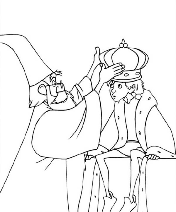 Merlin the Wizard, : Merlin the Wizard Put Crown onto Kings Head Coloring Pages
