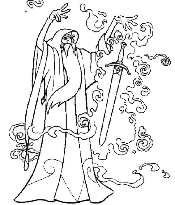 Merlin the Wizard, : Merlin the Wizard Put a Magic Spell into a Sword Coloring Pages