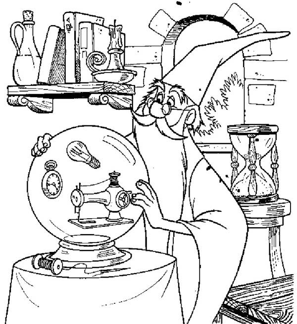 Merlin the Wizard, : Merlin the Wizard Touch His Magic Christal Ball Coloring Pages