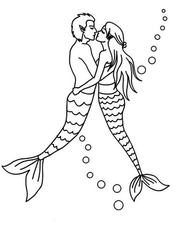 Mermaid, : Mermaid Couple Kissing Coloring Pages