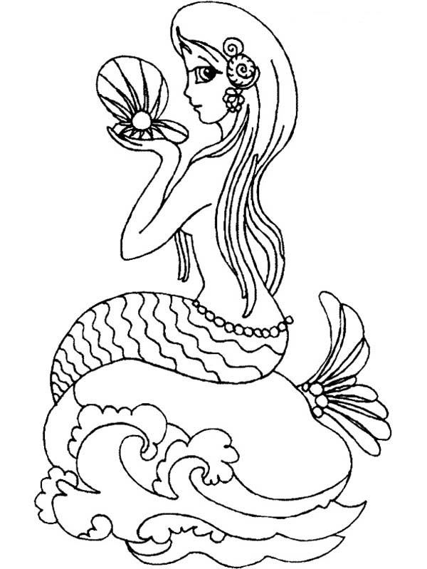 Mermaid, : Mermaid Holding Sea Clamps Coloring Pages
