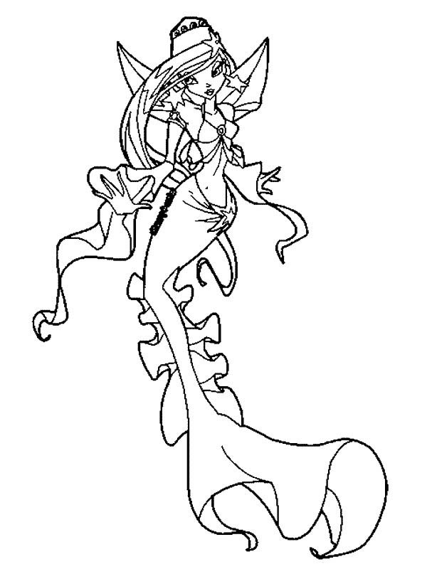 Mermaid, : Mermaid Wearing Beautiful Dress Coloring Pages