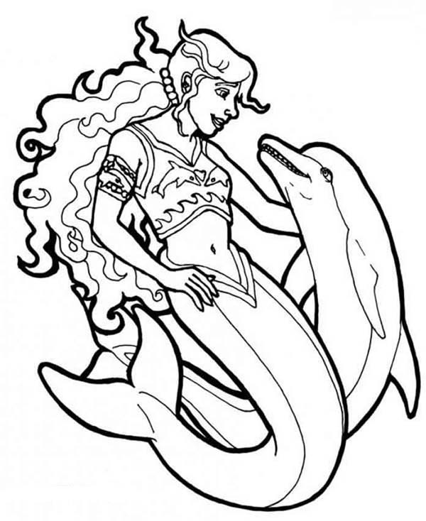 Mermaid, : Mermaid and Dolphin Coloring Pages