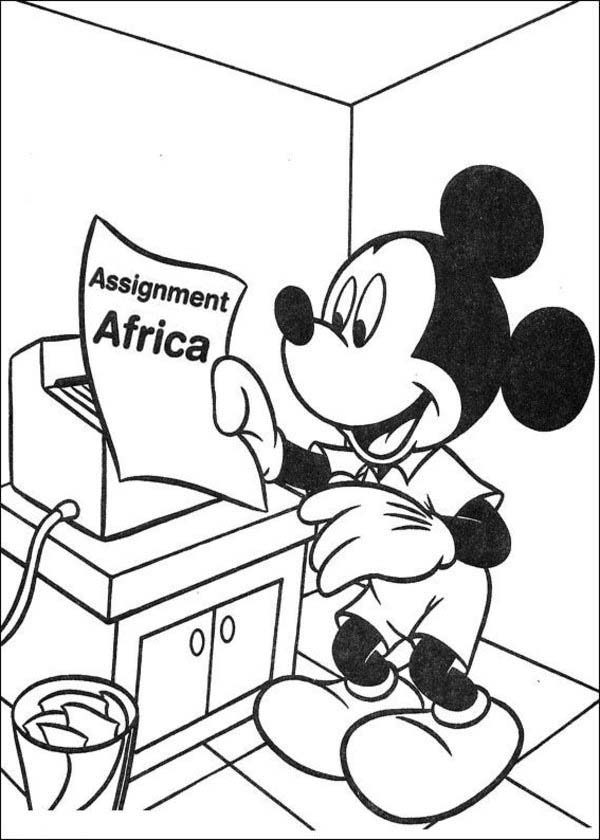 Mickey Mouse Safari, : Mickey Mouse Safari Coloring Pages Acccepting Assignment to Africa