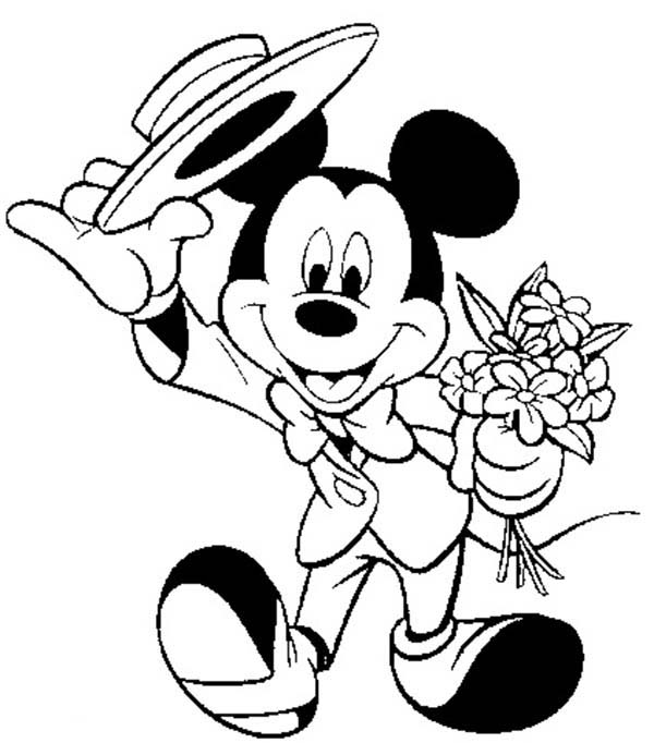 Mickey Mouse Safari, : Mickey Mouse Safari Coloring Pages Wearing Suit  and Bring Minnie Bouquet of Flower