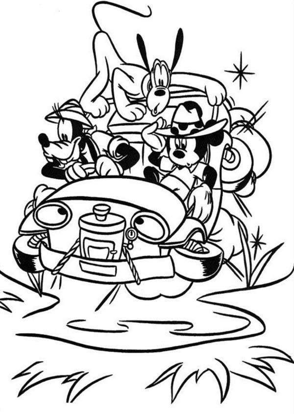 Mickey Mouse Safari, : Mickey Mouse Safari Coloring Pages for Kids