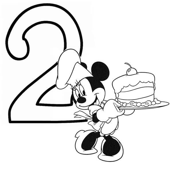 Number 2, : Minnie Mouse and Birthday Cake Number 2 Coloring Page