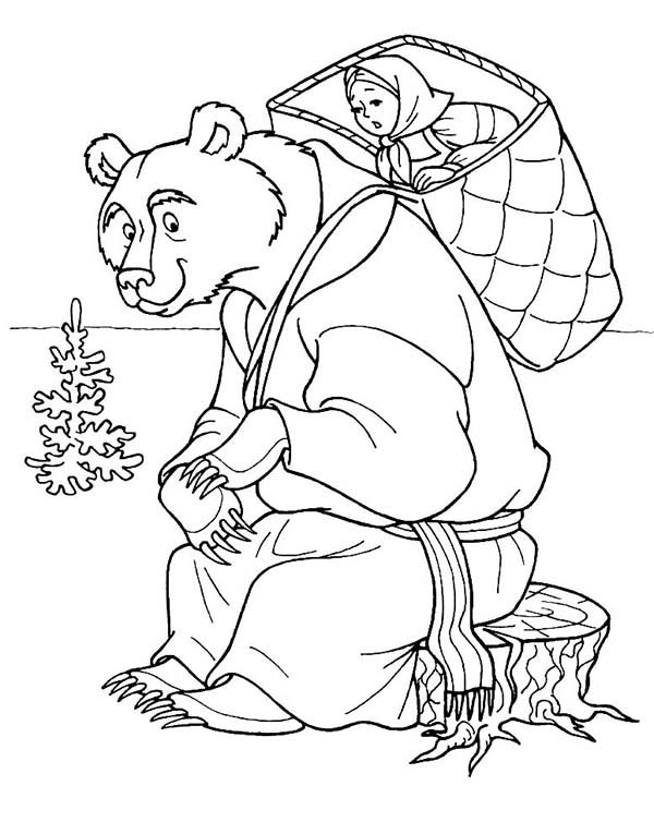 Mascha and Bear, : Mischa Put Mascha on His Shoulder in Mascha and Bear Coloring Pages