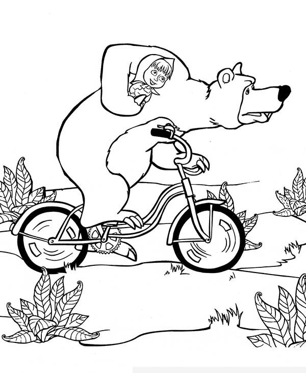 Mascha and Bear, : Mischa Take Mascha Home with Bike in Mascha and Bear Coloring Pages