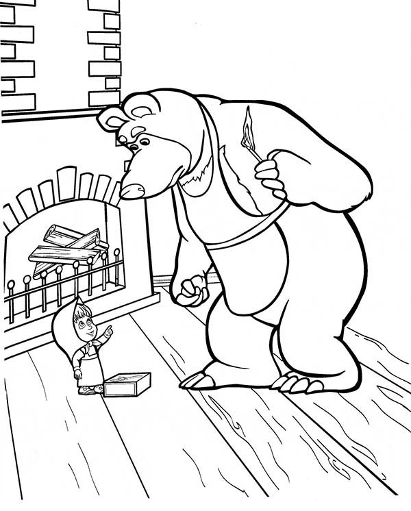 Mascha and Bear, : Mischa is Angry to Mascha in Mascha and Bear Coloring Pages