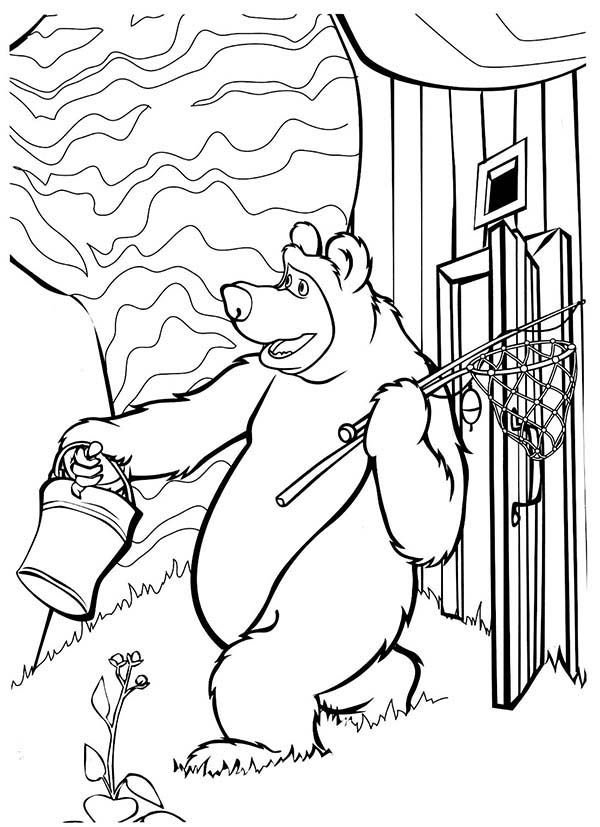 Mascha and Bear, : Mischa is Going to Fishing in Mascha and Bear Coloring Pages