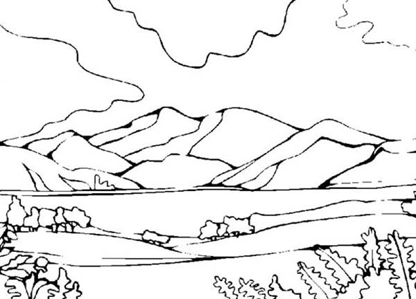 Landscapes, : Mountains View Landscapes Coloring Pages