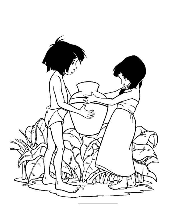 Jungle Book, : Mowgli Help Shanti in Jungle Book Coloring Pages