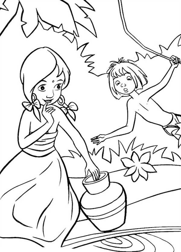 Jungle Book, : Mowgli Teasing Shanti in Jungle Book Coloring Pages