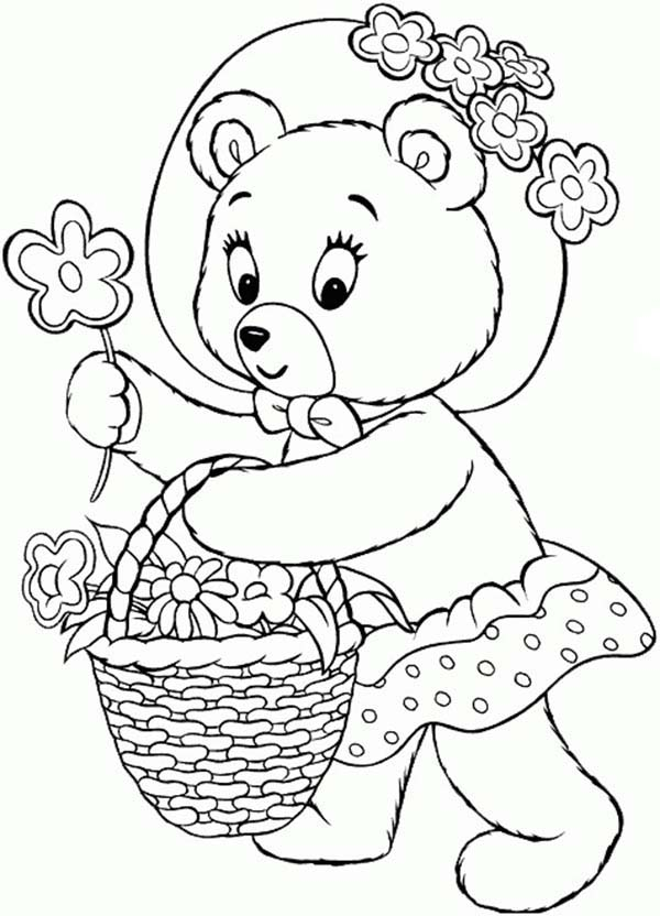 Noddy, : Mr Tubby Bear Collecting Flower in a Bucket in Noddy Coloring Pages