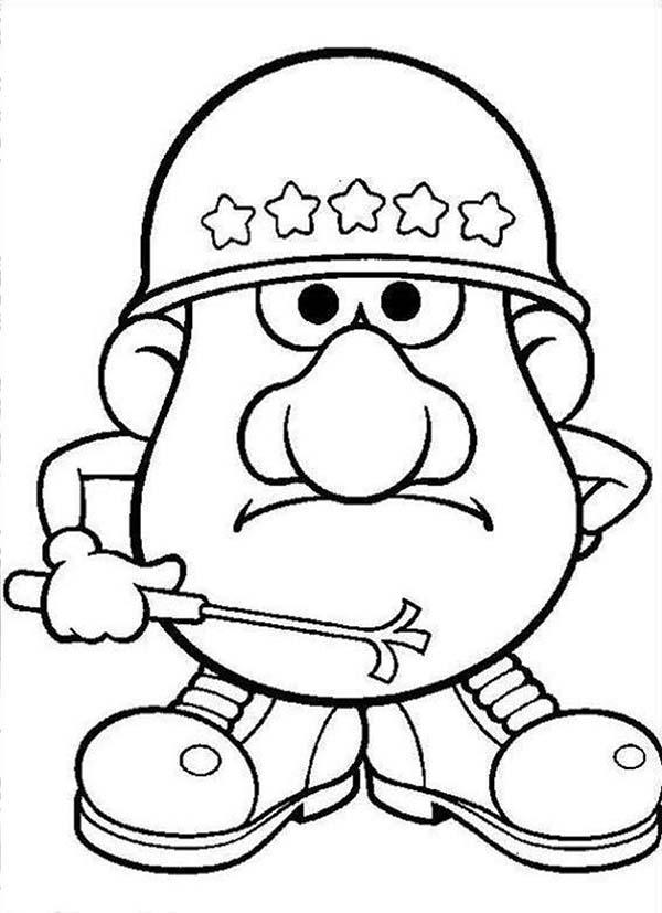 Mr. Potato Head, : Mr. Potato Head Army Commander Coloring Pages