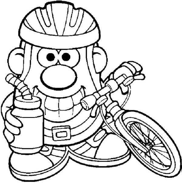 Mr. Potato Head, : Mr. Potato Head Bike to Work Coloring Pages