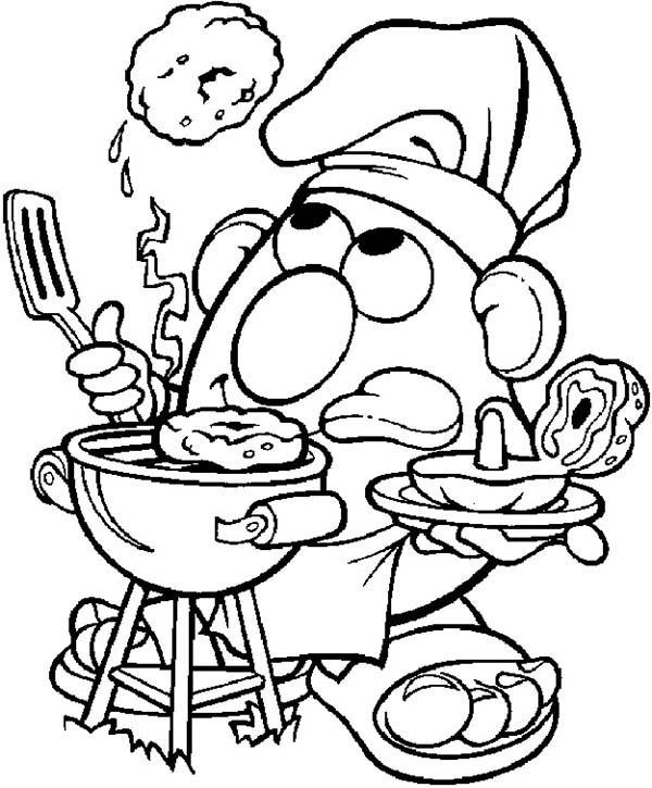 Mr. Potato Head, : Mr. Potato Head Cook Barbeque Coloring Pages
