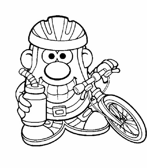 Mr. Potato Head, : Mr. Potato Head Cycling Athete Coloring Pages