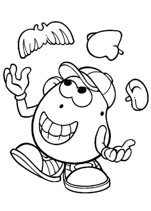 Mr. Potato Head, : Mr. Potato Head Juggling with His Ear Nose and Mustache Coloring Pages