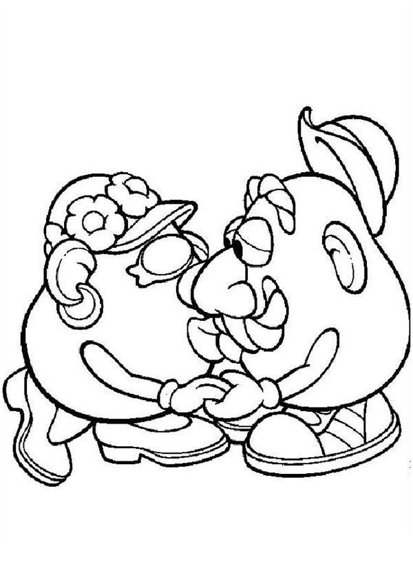 Mr. Potato Head, : Mr. Potato Head Kiss His Wife Coloring Pages