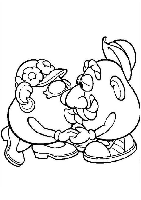 Mr. Potato Head, : Mr. Potato Head Kiss His Wife Coloring Pages