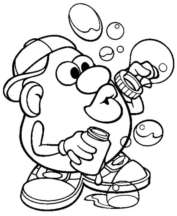 Mr. Potato Head, : Mr. Potato Head Making Bubbles Coloring Pages