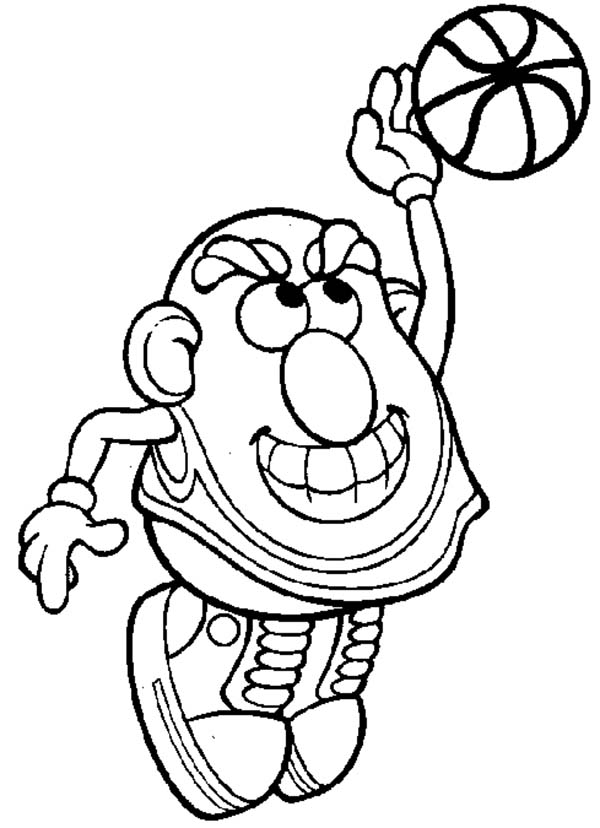 Mr. Potato Head, : Mr. Potato Head Playing Basketball Coloring Pages