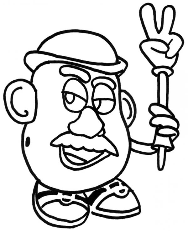 Mr. Potato Head, : Mr. Potato Head Take Off His Hand Coloring Pages