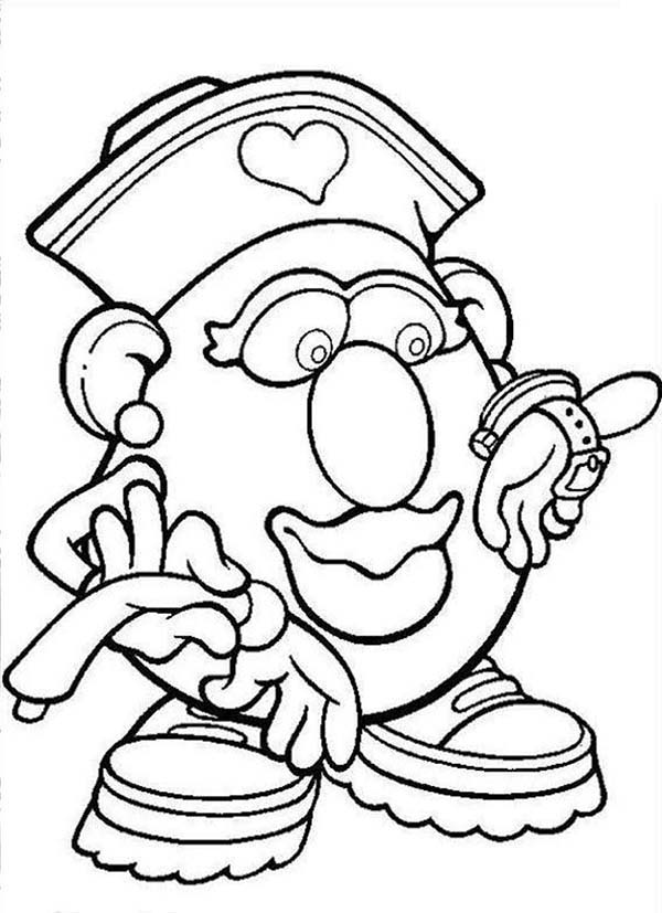 Mr. Potato Head, : Mr. Potato Head Wife Looking at Her New Watch Coloring Pages