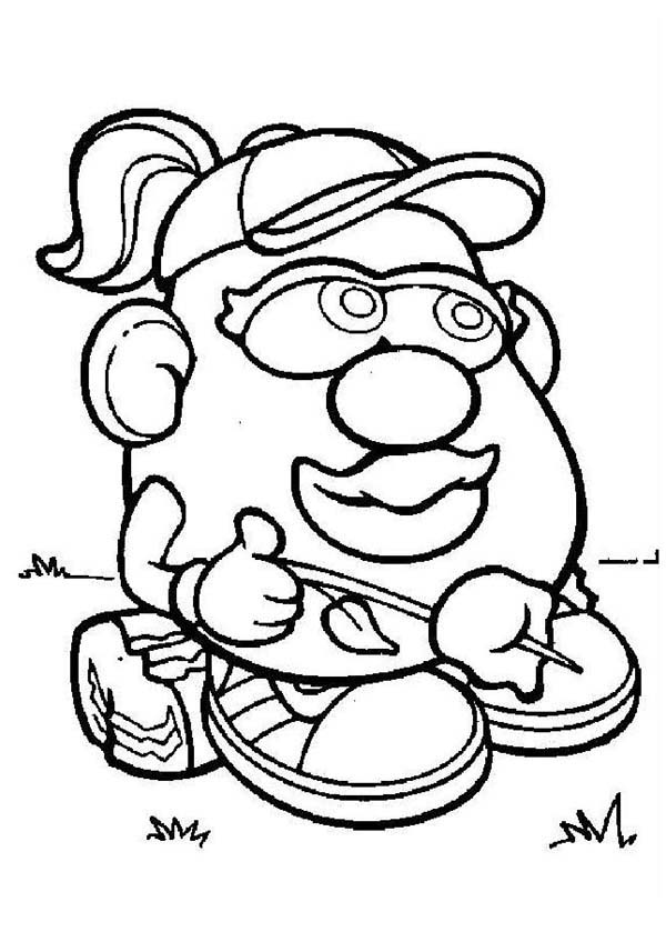 Mr. Potato Head, : Mr. Potato Head Wife Siiting on a Piece of Wood Coloring Pages