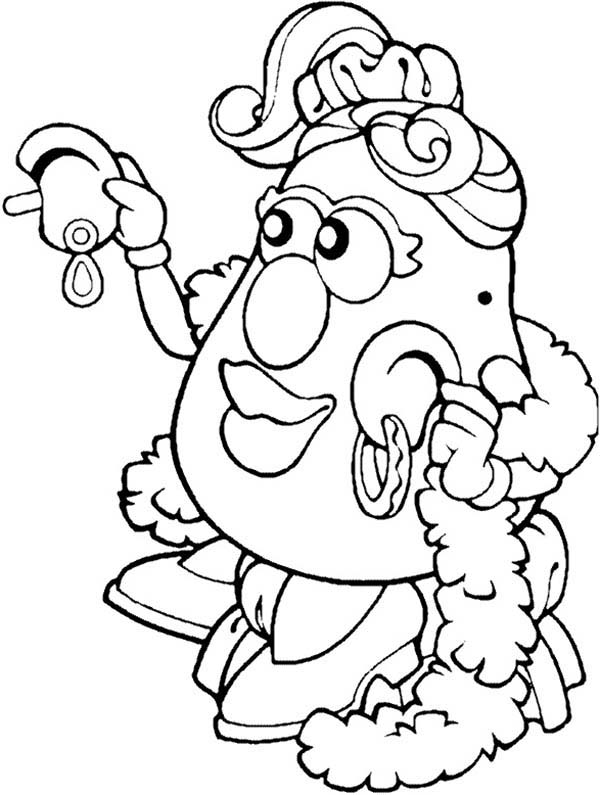 Mr. Potato Head, : Mr. Potato Head Wife Try New Earing Coloring Pages