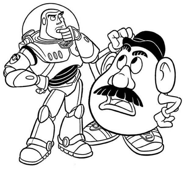 Mr. Potato Head, : Mr. Potato Head and Buzz Lightyear in Toy Story Coloring Pages