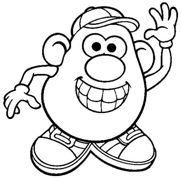 Mr. Potato Head, : Mr. Potato Head is so Happy Coloring Pages